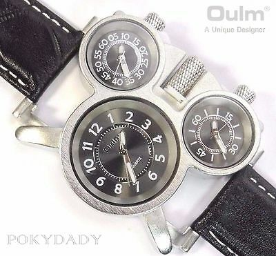 OULM 1167 Military Army Leather BLACK Dial  Mens Dual Time Zones Wrist Watch