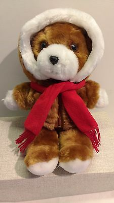 "Adorable 12"" AVON BEAR, golden brown w/ hooded jacket, scarf & striped shirt EUC"
