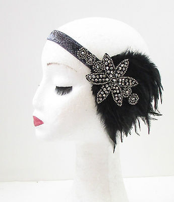 Black Charcoal Silver Feather Headpiece Flapper 1920s Great Gatsby Headband 30