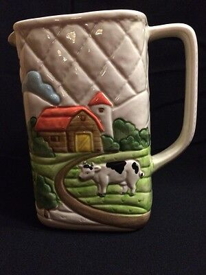 Vintage Otagiri FARM Water Pitcher 1982 Hand Crafted Porcelain JAPAN