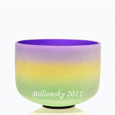 """Rainbow Colored Frosted  B Crown Chakra Quartz Crystal Singing Bowl 8"""""""