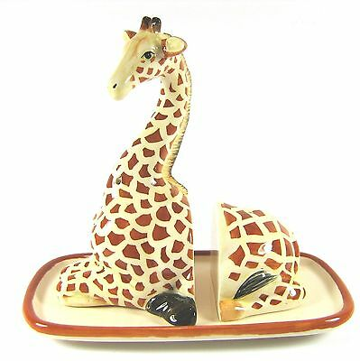 Giraffe on Base Ceramic Salt & Pepper Shakers