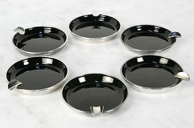 Vintage MEKA Sterling Silver Enamel Ashtrays. Set of 6. Elegant. DENMARK