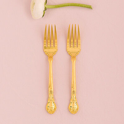 Wedding Cake Fork Set Classic Gold Romance Reception Gift Shimmering Party