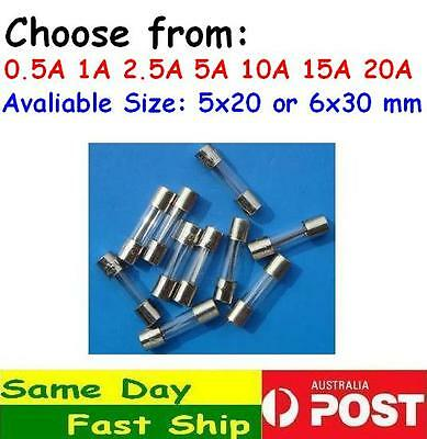 2 x Glass Fuse Fast or Slow Blow Size 5 x 20 mm or 6 x 30 mm AU local fast ship