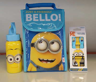"""Despicable Me """" Minions """" Lunch Bag / Drink Bottle Canteen / Spoon & Fork Set"""