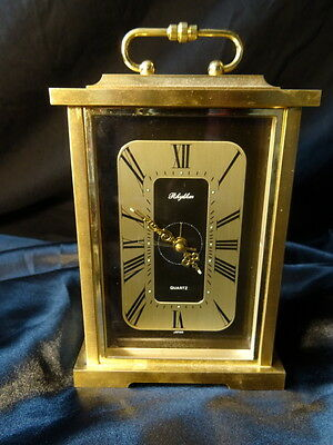 Antique Style Heavy Brass Quartz Mantle Carriage Clock With Carry Handle