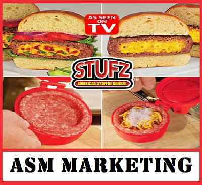 The Real Stufz Stuffed Burger Press ORIGINAL BOX Hamburger Grill BBQ Paty Maker