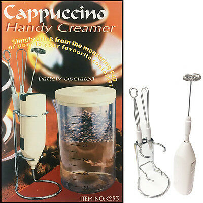 Handy Milk Frother Kit Coffee/Cappuccino Creamer Mixer Blender Frothier + Stand