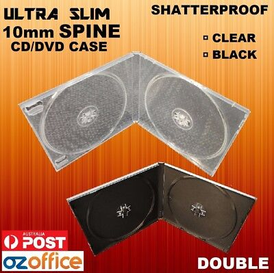 STANDARD SIZE DOUBLE 10mm CD DVD Case Cover Plastic CD PP Cases Black Clear