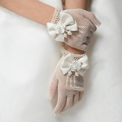 HOT Kids Cream Lace Pearl Net Gloves First Communion Wedding Flower Girl Party