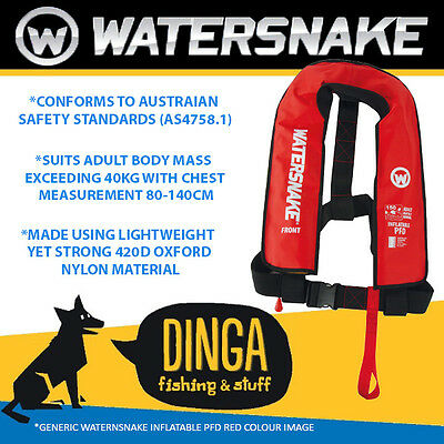 Watersnake Inflatable PFD Life Jacket Adult Level 150 Manual Red