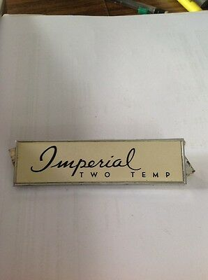 refrigerator emblem zinc die cast IMPERIAL TWO TEMP WITH CLIPS 1948