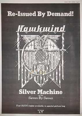 "HAWKWIND (LEMMY) - SILVER MACHINE - BRITISH 16"" x 12"" ADVERT/AD 1978"