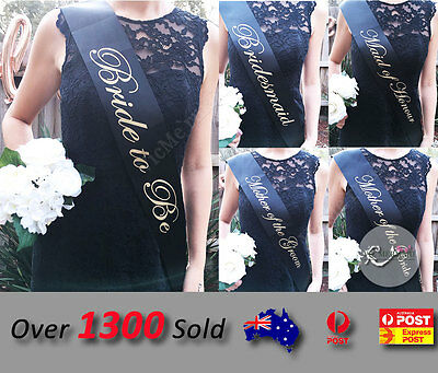Black Sashes Gold Text Hens Night Party Bride To Be Bridesmaid Maid of Honour