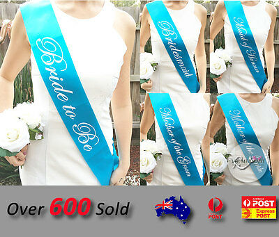 Baby Blue Sashes Hens Night Party Engagement Bride To Be Bridesmaid Maid Honour