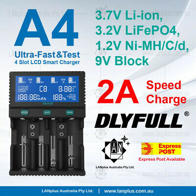 D4 Ultra-Fast 2.0A D Size Li-ion 18650 AA AAA NiMH LCD Battery Charger 26650
