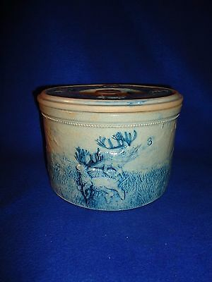 Whites of Utica Stoneware Deer Hunt Butter Crock with Lid, Uncommon 3 Pound Size