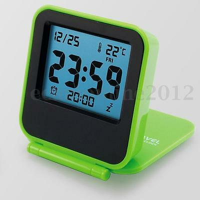 Mini Foldable LCD Digital Travel Desk Alarm Clock Snooze Date Day Thermometer
