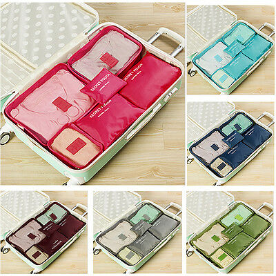 6 Pcs/Set Waterproof Clothes Storage Bags Packing Cube Travel Luggage Organizers