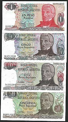 Argentina 1 to 50 PESOS Serie 1983 UNC SET 4 NOTES