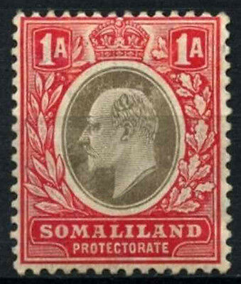 Somaliland Pro. 1905-11 SG#46a 1a Grey-Black & Red KEVII MH Chalk Paper #D24687