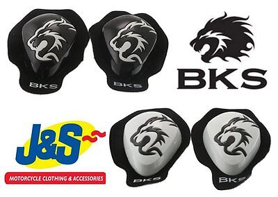 Bks Knee Sliders Black White Race Track Day Motorcycle J&s