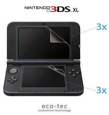 6X High Quality Clear 3Ds Xl Lcd Screen Protectors With Cloth (Old Type)