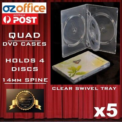 5 x PREMIUM Quadruple Clear DVD Case Holds 4 Disc Four DVD Cover 14mm Pivot Tray