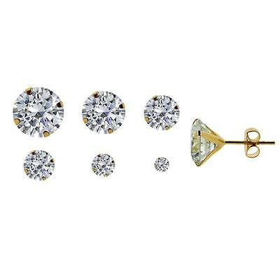 9ct Gold Plated On 925 Sterling Silver Round CZ Cubic Zirconia Stud Earrings