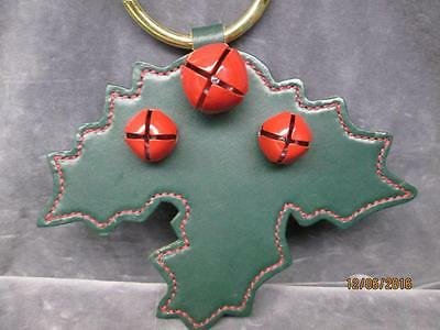 Large Green Leather Christmas Holly Leaf And Berry Bells Hanger
