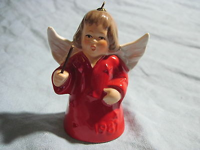 1987 Goebel ANGEL BELL ORNAMENT Red with Baton FREE SHIPPING