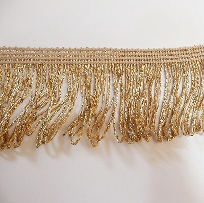 "Gold Lurex Metallic Looped Dress Fringe 50mm wide 2"" , craft, fashion,  by the M"