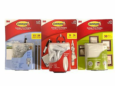 3M Command Damage-Free Hanging Designer Hooks, Wire Hooks, Strips - Large Packs