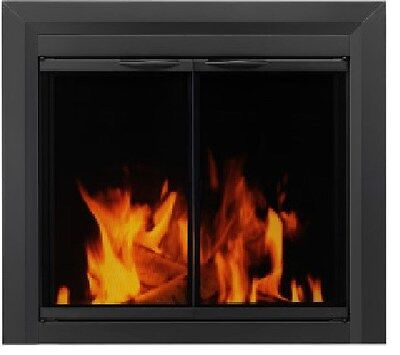 Pleasant Hearth Fireplace Glass Doors Carlisle Black 3 Sizes Available