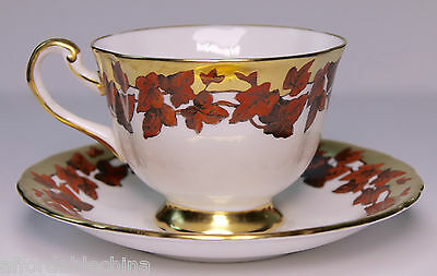 Royal Chelsea Orange Red Leaves and Gold Trim Cup and Saucer