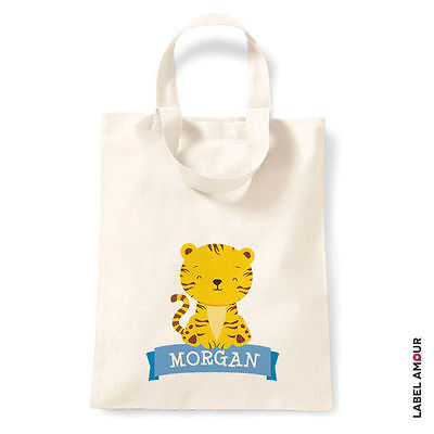 PERSONALISED Tiger Birthday Party Cotton Tote Bag - Name Girl Boy Baby School