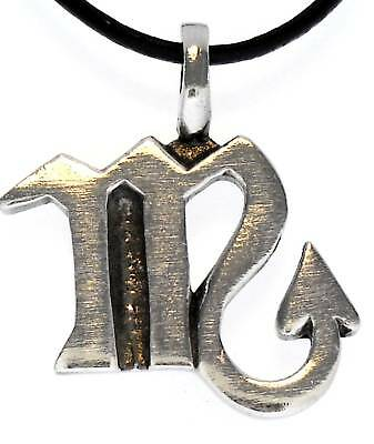 SCORPIO Silver Pewter Pendant Leather Necklace Surfer