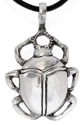 SCARAB BEETLE Silver Pewter Pendant Leather  Surfer