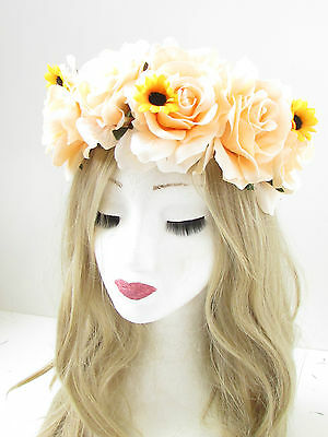 Ivory Cream Rose Flower Garland Headband Hair Band Crown Festival Boho Vtg 1875