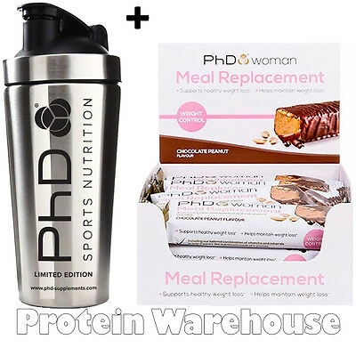 12 x 60g PhD Woman Meal Replacement Cho Peanut Bars Support + Steel Shaker 700ml