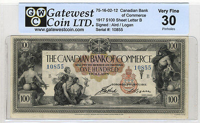 1917 $100 Canadian Bank of Commerce note GWC certified VF '30' / pinholes