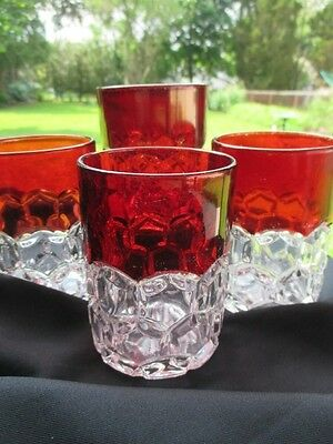 1880 Eapg Hobbs Glass Tumblers Hexagon Block Ruby Stained Double Old Fashioned