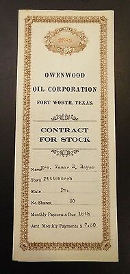 OWENWOOD Oil Corporation Contract for Stock 1921 | PicClick