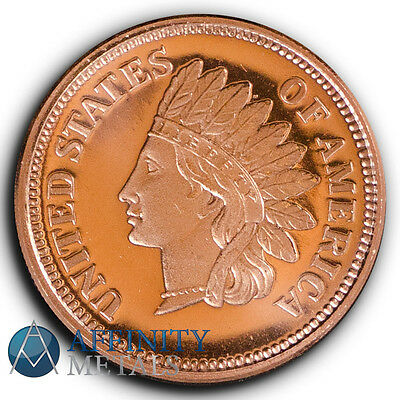Indian Head Cent 1/2 oz .999 Copper Bullion Round