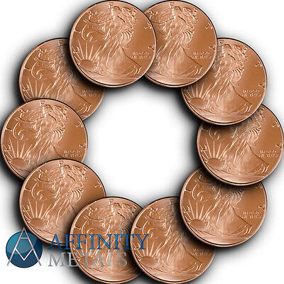 10 Coins-  Walking Liberty 1/2 oz .999 Copper Bullion Rounds