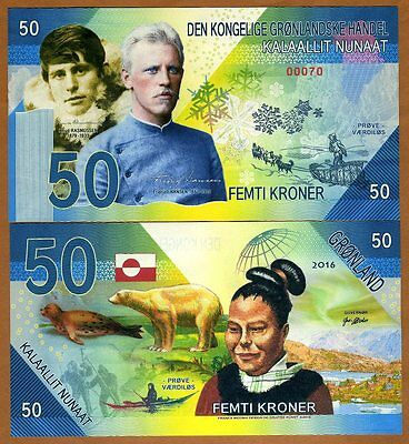 Greenland, 50 Kroner, 2016, Private Issue Kamberra, UNC    Rusmussen, Amundsen