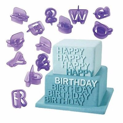 40pcs Alphabet Number Letter Fondant Cake Decorating Set Icing Cutter Mould UK