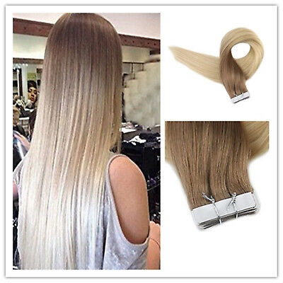 7A European Remy Tape-in Human Hair Extensions Ombre Blonde Skin Weft 20Pcs 50g