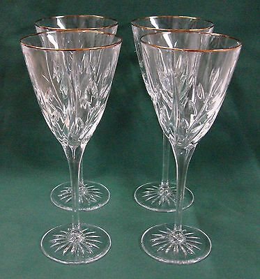 CRISTAL D'ARQUES crystal CASSANDRA Gold Set of 4 WATER Goblet Stems